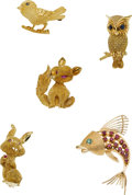 Estate Jewelry:Brooches - Pins, Multi-Stone, Gold Brooches. ...