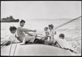 Photographs:20th Century, MARK SHAW (American, 1922-1969). Kennedy Family Sailing,1964. Vintage gelatin silver. Paper: 11 x 14 inches (27.9 x 35....
