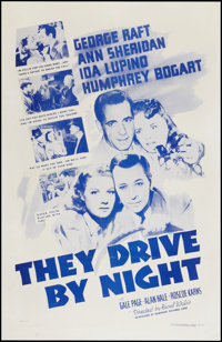 """They Drive by Night (Dominant Pictures, R-1956). One Sheet (27"""" X 41""""). Drama"""
