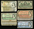 Canadian Currency: , More Canadian Small Size.. ... (Total: 26 notes)