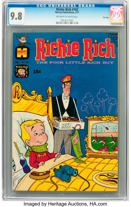Richie Rich #102 File Copy (Harvey, 1971) CGC NM/MT 9.8 Off-white to white pages....