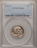 Buffalo Nickels: , 1931-S 5C MS64 PCGS. PCGS Population (1288/1787). NGC Census:(697/732). Mintage: 1,200,000. Numismedia Wsl. Price for prob...