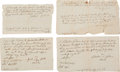 Autographs:Statesmen, Josiah Bartlett Group of Four Promissory Notes All Written in HisHand and Signed Within the Text. . ...
