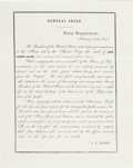 "Autographs:U.S. Presidents, [John Quincy Adams] Naval General Order Death Announcement. Onepage with blank integral, 8"" x 10"", n.p., February 24, 1848...."