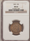 Seated Quarters, 1843 25C MS64 NGC....