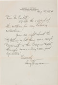 Autographs:U.S. Presidents, Post-Presidential Harry Truman Autograph Letter Signed....