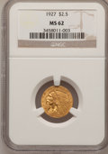 Indian Quarter Eagles: , 1927 $2 1/2 MS62 NGC. NGC Census: (4362/6164). PCGS Population(2433/4765). Mintage: 388,000. Numismedia Wsl. Price for pro...