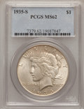 Peace Dollars: , 1935-S $1 MS62 PCGS. PCGS Population (482/3004). NGC Census:(303/1852). Mintage: 1,964,000. Numismedia Wsl. Price for prob...