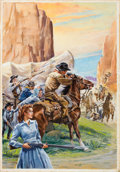 Pulp, Pulp-like, Digests, and Paperback Art, GLENN CRAVATH (American, 1897-1964). The Old West. Gouacheand watercolor on board. 26 x 18 in.. Inscribed verso. Fr...