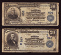 National Bank Notes:Pennsylvania, Altoona, PA - $20 1902 Plain Back Fr. 650 The First NB Ch. # (E)247;. Reading, PA - $10 1902 Plain Back Fr. 624 Th... (Total: 2 notes)