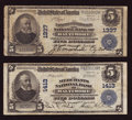 National Bank Notes:Maryland, Baltimore, MD - $5 1902 Plain Back Fr. 598 The Farmers &Merchants NB Ch. # 1337;. Baltimore, MD - $5 1902 Plain Bac...(Total: 2 notes)
