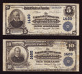 National Bank Notes:Maryland, Baltimore, MD - $5 1902 Plain Back Fr. 598 and $10 1902 Plain BackFr. 624 The National Union Bank of Maryland Ch. # 148... (Total: 2notes)