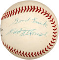 Baseball Collectibles:Balls, Edd Roush Single Signed Baseball. ...