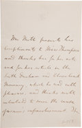 "Autographs:Authors, John Stuart Mill Autograph Letter Signed Twice in the Third Person,""Mr Mill"". ..."
