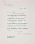 "Autographs:U.S. Presidents, Warren G. Harding Typed Letter Signed as President. One page, 7"" x9"", Washington, August 12, 1921, on White House lette..."