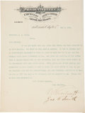 "Autographs:Statesmen, Mormon Church President Wilford Woodruff Typed Letter Signed ""W.Woodruff"", Also Signed by Joseph F. Smith. ..."