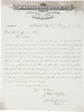 Autographs:Statesmen, Mormon Church President John Taylor Letter Signed, Co-signed byFirst Counselor in the First Presidency George Q. Cannon. ...