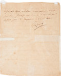 "Autographs:Military Figures, Napoleon Bonaparte Letter Signed, ""Napo"". Two pages, frontand verso, 7.25"" x 9"", Naugardiski (Poland), June 23, 181..."