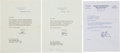 """Autographs:U.S. Presidents, Richard Nixon Typed Letters (Two) Signed """"RN"""". ..."""