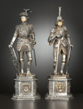 Silver Holloware, Continental:Holloware, A PAIR OF GERMAN SILVER AND SILVER GILT FIGURAL KNIGHTS WITH IVORYFACES . Maker unknown, Germany, circa 1920. Marks: GERM...(Total: 2 Items Items)