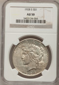 Peace Dollars: , 1928-S $1 AU50 NGC. NGC Census: (83/3791). PCGS Population(112/5231). Mintage: 1,632,000. Numismedia Wsl. Price for proble...