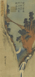 Prints, ANDO HIROSHIGE (Japanese, 1797-1858). Canyon Scene. Color woodblock on paper. 20in. x 6-1/2in.. ...