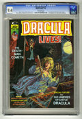 "Bronze Age (1970-1979):Horror, Dracula Lives! #7 (Marvel, 1974) CGC NM 9.4 Off-white pages. ""Tastethe Blood of Dracula"" movie review. Bram Stoker adaptati..."