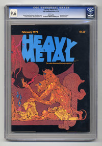 Heavy Metal #11 (HM Communications, 1978) CGC NM+ 9.6 White pages. Barbarella story. Wraparound cover by Alex Nino. Rich...