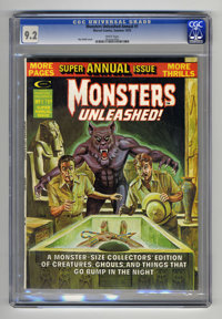 Monsters Unleashed Annual #1 (Marvel, 1975) CGC NM- 9.2 White pages. Ken Bald cover. Ernie Chua, George Tuska, Gene Cola...