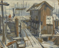 Fine Art - Painting, American:Other , AMERICAN SCHOOL. Docks. Oil on panel. 21-3/4in. x 27in..Signed illegibly at lower right. ... (Total: 1 Item)