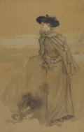 Fine Art - Painting, American:Antique  (Pre 1900), GEORGE H. BOUGHTON (American, 1833-1905). Contemplation.Watercolor, graphite, and white chalk highlights on paper. 17-1...(Total: 1 Item)