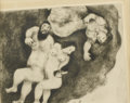 Prints:European Modern, MARC CHAGALL (Russian/French, 1887-1985). Loth and HisDaughters (Plate 35 from The Bible), 1951. Etching. 9-1/2in. x12...