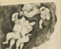 MARC CHAGALL (Russian/French, 1887-1985) Loth and His Daughters (Plate 35 from The Bible), 1951 Etching 9-1/2in. x 12