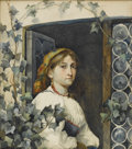 Fine Art - Painting, American:Antique  (Pre 1900), Attributed to EASTMAN JOHNSON (American, 1824-1906). PeasantGirl in Window, circa 1900. Watercolor on paper. 16in. x 14...(Total: 1 Item)