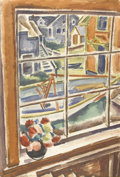 Fine Art - Painting, American:Modern  (1900 1949)  , EMIL EUGEN HOLZHAUER (American, 1887-1986). Looking Through theWindow, circa 1977. Watercolor on paper. 22in. x 15in.. ...(Total: 1 Item)