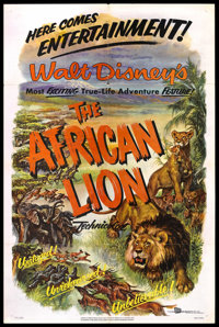 """The African Lion (Buena Vista, 1955). One Sheet (27"""" X 41""""). Nature Documentary. Starring Winston Hibler (Narr..."""