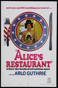 """Alice's Restaurant (United Artists, 1969). One Sheet (27"""" X 41""""). Comedy Drama. Starring Arlo Guthrie, Pat Qui..."""