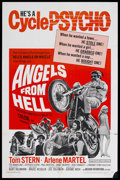 "Movie Posters:Action, Angels from Hell (American International, 1968). One Sheet (27"" X 41""). Biker Film. Starring Tom Stern, Arlene Martel, and T..."