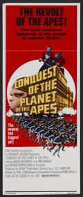 "Movie Posters:Science Fiction, Conquest of the Planet of the Apes (20th Century Fox, 1972). Insert(14"" X 36""). Sci-Fi Action. Starring Roddy McDowall, Don..."