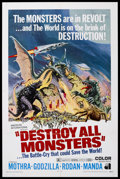 "Movie Posters:Science Fiction, Destroy All Monsters (Toho, 1968). One Sheet (27"" X 41"").Sci/Fi/Horror. Starring Mothra, Godzilla, Rodan, and Ghidorah.Dir..."