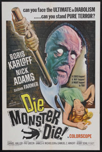 "Die Monster Die! (American International, 1965). One Sheet (27"" X 41""). Horror. Starring Boris Karloff, Nick A..."