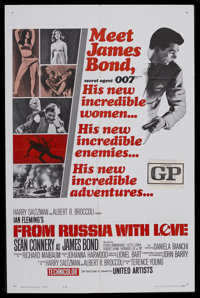 "From Russia With Love (United Artists, 1964). One Sheet (27"" X 41"") Style B. James Bond Thriller. Starring Sea..."