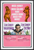 "Movie Posters:James Bond, Goldfinger/Dr. No Combo (United Artists, 1966). One Sheet (27"" X41""). Spy Thriller. Starring Sean Connery, Honor Blackman, ..."
