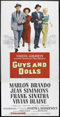 """Movie Posters:Musical, Guys and Dolls (MGM, 1955). Three Sheet (41"""" X 81""""). Musical.Starring Marlon Brando, Vivian Blaine, Jean Simmons, and Frank..."""