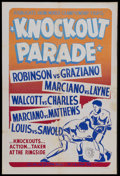 "Movie Posters:Sports, Knockout Parade (Cardinal Films, 1953). One Sheet (27"" X 41"").Boxing Documentary. Starring Sugar Ray Robinson, Rocky Grazia..."