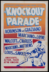 """Knockout Parade (Cardinal Films, 1953). One Sheet (27"""" X 41""""). Boxing Documentary. Starring Sugar Ray Robinson..."""