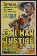"Movie Posters:Western, One Man Justice (Columbia, 1937). One Sheet (27"" X 41""). Starring Charles Starrett and Barbara Weeks. Directed by Leon Barsh..."