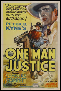 """One Man Justice (Columbia, 1937). One Sheet (27"""" X 41""""). Starring Charles Starrett and Barbara Weeks. Directed..."""