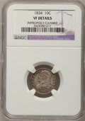 Bust Dimes: , 1834 10C Small 4--Improperly Cleaned--NGC Details. VF. NGC Census:(2/266). PCGS Population (0/179). Mintage: 635,000. Numi...