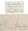 Autographs:Authors, George Francis Train Autograph Notes Signed (Two). ...